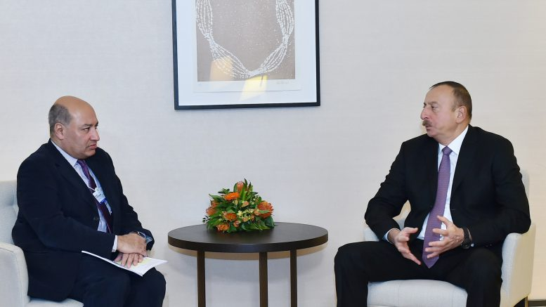 President of Azerbaijan Ilham Aliyev has met in Davos with the head of the European Bank for Reconstruction and Development