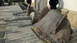 Representatives of ANAMA put the wreckages of Iskander missiles on display in Baku, Azerbaijan, April 2, 2021 / Courtesy